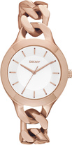 DKNY Chambers Large Rose Gold-Tone Link Watch