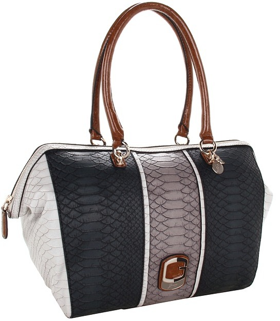 GUESS Tisbury E/W Satchel (Black Multi) - Bags and Luggage