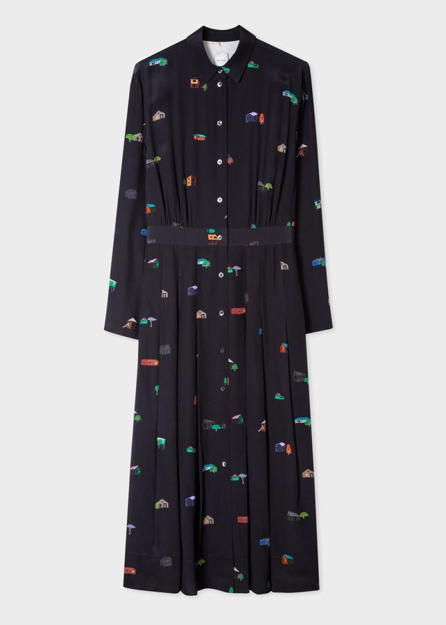 Paul Smith Women's Dark Navy 'House' Print Silk Shirt Dress