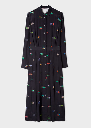 Paul Smith Women's Dark Navy 'House' Print Silk Shirt Dress