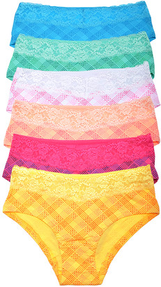 Angelina Women's Underwear Assorted - Yellow & White Lace Plaid Hipster Set - Women