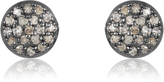 Adornia Fine Black Rhodium Plated Sterling Silver Pave Diamond Disc Stud Earrings - 0.25 ctw