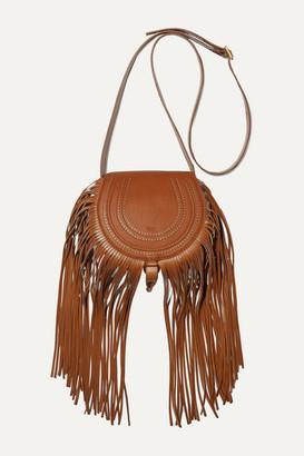 Chloé Marcie Mini Fringed Textured-leather Shoulder Bag - Tan