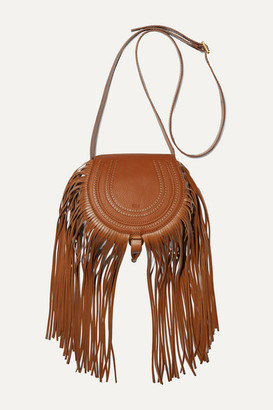Chloé Marcie Mini Fringed Textured-leather Shoulder Bag - Tan
