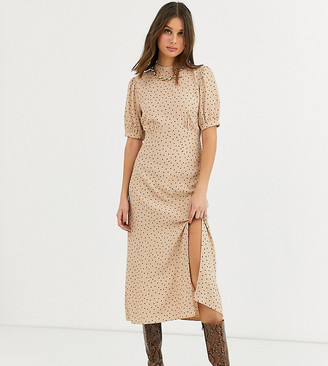 New Look Tall split front midi dress in polka dot camel-Brown