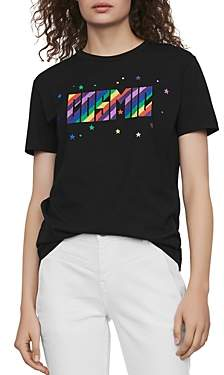 Maje Terence Cosmic Embroidered Graphic Tee