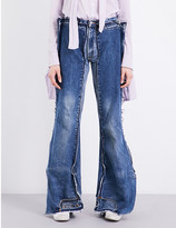 Daniel Gregory Natale Reconstructed flared-leg mid-rise denim trousers