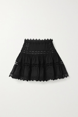 Charo Ruiz Ibiza Greta Crocheted Lace-paneled Cotton-blend Mini Skirt - Black