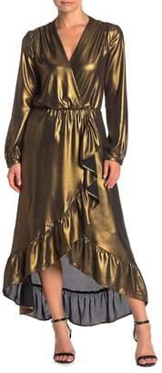 WAYF Calista Metallic Wrap Maxi Dress