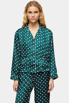 Topshop Womens Green Tile Print Jacquard Pyjama Shirt - Green