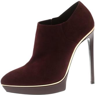 Saint Laurent Burgundy Suede Platform Ankle Booties Size 39.5