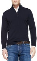 Brunello Cucinelli Cashmere Half-Zip Sweater, Navy