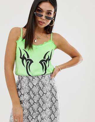 New Girl Order cami top with lace trim and tribal print in neon-Green