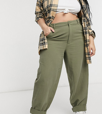 ASOS DESIGN Curve slouchy trackies in khaki cheesecloth