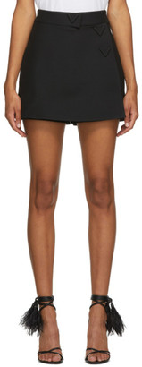 Valentino Black Wool Mini Wrap Skort