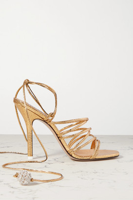 ATTICO The Eve Crystal-embellished Metallic Lizard-effect Leather Sandals - Gold