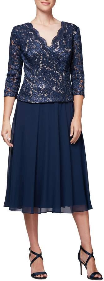 Alex Evenings Lace & Chiffon Tea Length Dress