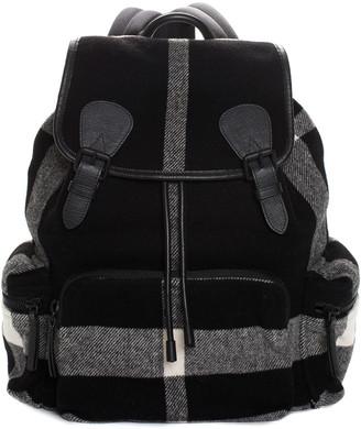 Burberry Black & White Wool Check Rucksack