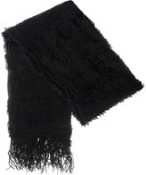 Quiz Black Faux Fur Stripe Knit Scarf