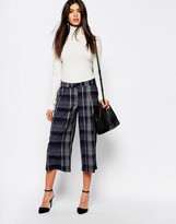MANGO Check Wide Leg Crop Pants