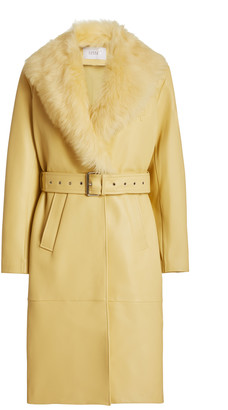 Common Leisure You & Me Shearling-Trimmed Leather Trench Coat