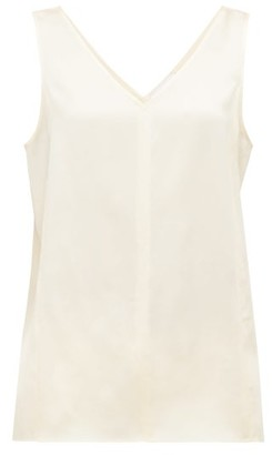 Raey High V Neck Silk Cami Top - Womens - Cream