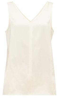 Raey High V-neck Silk Cami Top - Womens - Cream