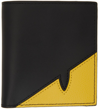 Fendi Black and Yellow Corner Bugs Bifold Wallet