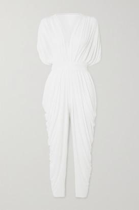 Norma Kamali Waterfall Draped Crepe Jumpsuit - White