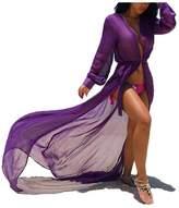 Multitrust Women Chiffon Bikini Swimsuit Cover Up Cardigan Summer Beach Dress (S, )