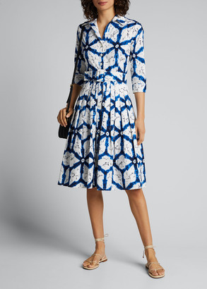 Samantha Sung Audrey 2 Todaji Printed 3/4-Sleeve Belted Shirtdress