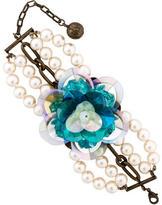 Lanvin Multistrand Pearl Flower Bracelet