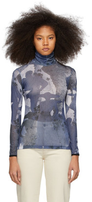 Victoria Victoria Beckham Blue Printed Jersey Blouse
