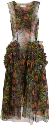 Molly Goddard Floral-Print Ruched Tulle Dress