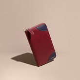 Burberry Contrast Corner London Leather Ziparound Wallet, Red