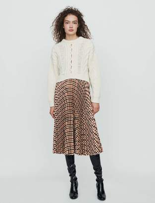 Maje Elasticated pleated plaid skirt