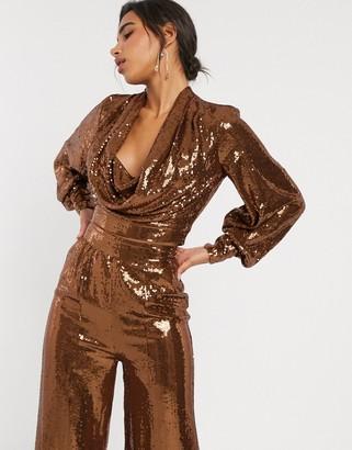 Asos Design DESIGN all over sequin cowl neck long sleeve top co-ord-Brown