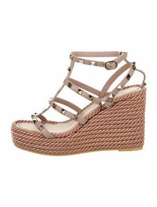 Valentino Rockstud Wedge Sandals Mauve