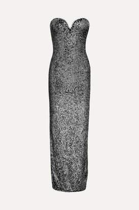Naeem Khan Strapless Sequin-embellished Tulle Gown - Gunmetal