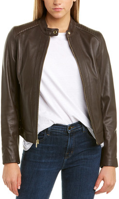 Cole Haan Racer Quilted Leather Jacket