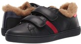 Gucci Kids New Ace Faux Fur Sneaker (Little Kid/Big Kid) (Nero/Nero) Kids Shoes