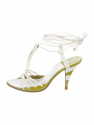 Chanel Patent Leather T-Strap Sandals Green