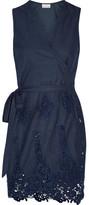 Miguelina Alina Crochet-trimmed Cotton Wrap Mini Dress - Storm blue