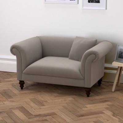 The White Company Earlsfield Velvet Love Seat, Silver Grey Velvet, One Size
