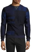 Salvatore Ferragamo Patchwork Sweater with Leather Trim, Navy