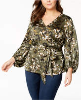 INC International Concepts Plus Size Printed Faux-Wrap Top, Created for Macy's