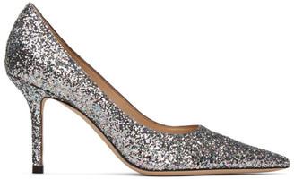 Jimmy Choo Silver Blast Coarse Glitter Love 85 Heels