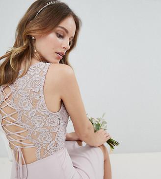 TFNC Petite Petite Lace Up Back Midi Bridesmaid Dress-Brown