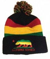 Generic Rasta Reggae California Republic Stripe Beanie Hat with Pom Pom & Free Rasta Bracelet
