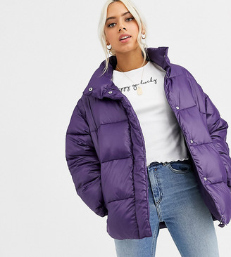 Asos DESIGN Petite puffer jacket with detachable sleeves in purple
